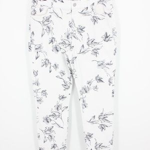 NWT WHBM White Black Floral Mid Rise Skinny Ankle
